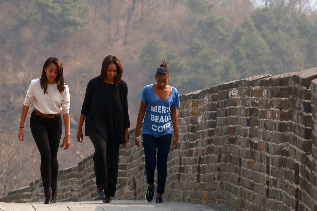 Michelle Obama and her two daughters Sasha and Malia.