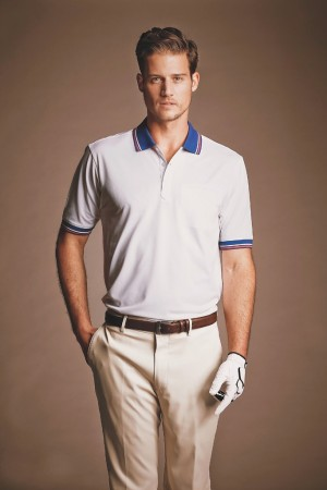 Performance golf shirt and pants by Perry Ellis International.