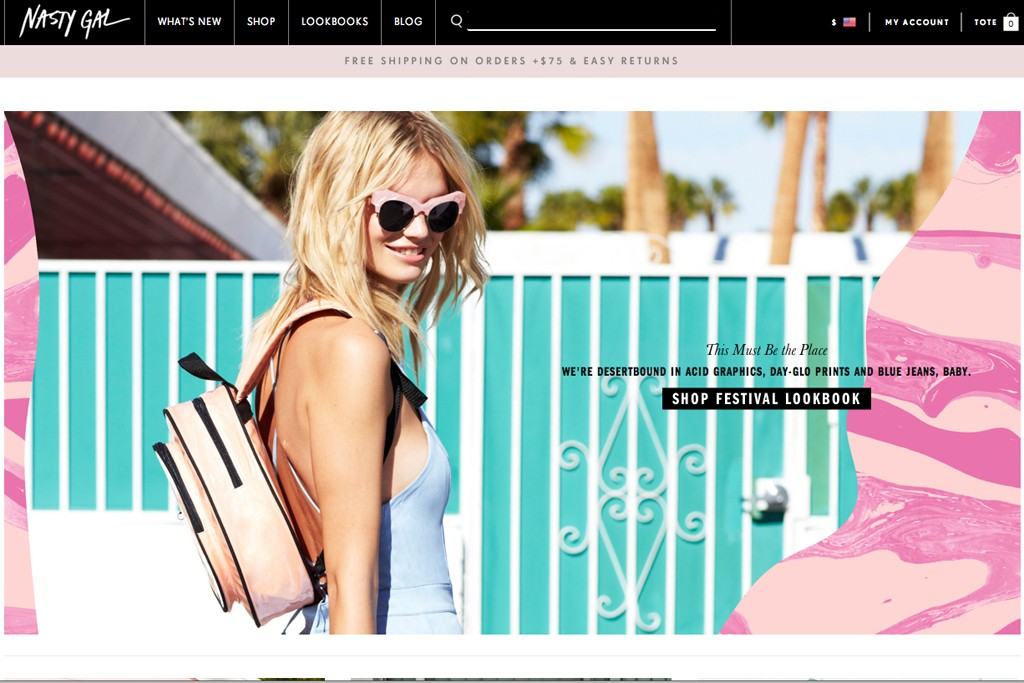 The Nasty Gal Web site.