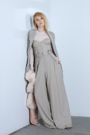 Nellie Partow's wool and cashmere cardigan; Dominic Louis' wool crepe bodice and pants; BP Studio's angora, nylon and wool sweater; Helen Yarmak fox stole.