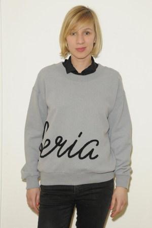 Omsk embroidered sweatshirt modeled by designer Valeria Siniouchkina