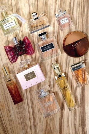 Left to right, from top: Fragrances by Carven, Salvatore Ferragamo, Dior, Viktor & Rolf, Ralph Lauren, Bulgari, Nuxe, Gianni Versace, Cartier, Karl Lagerfeld, and Beyoncé.