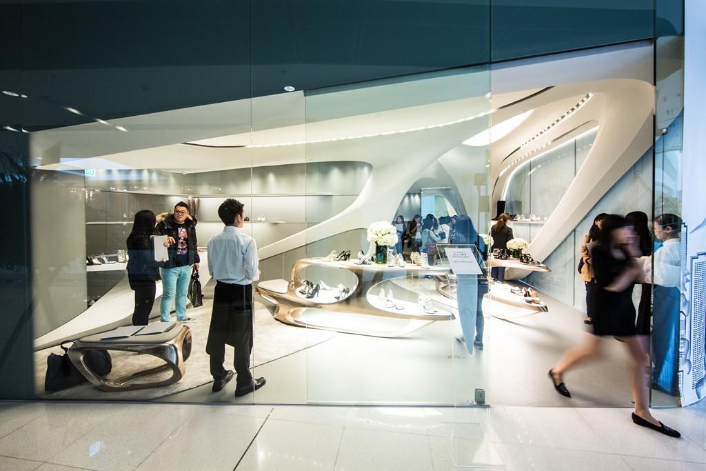 A view of Stuart Weizman's Hong Kong store, designed by Zaha Hadid.