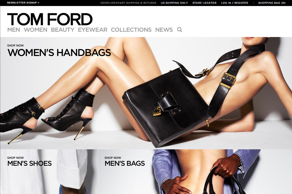 A page from Tom Ford's Web site.