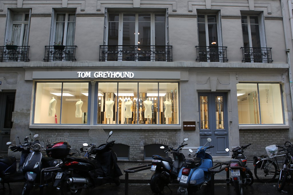 The facade of the Tom Greyhound store in Paris.