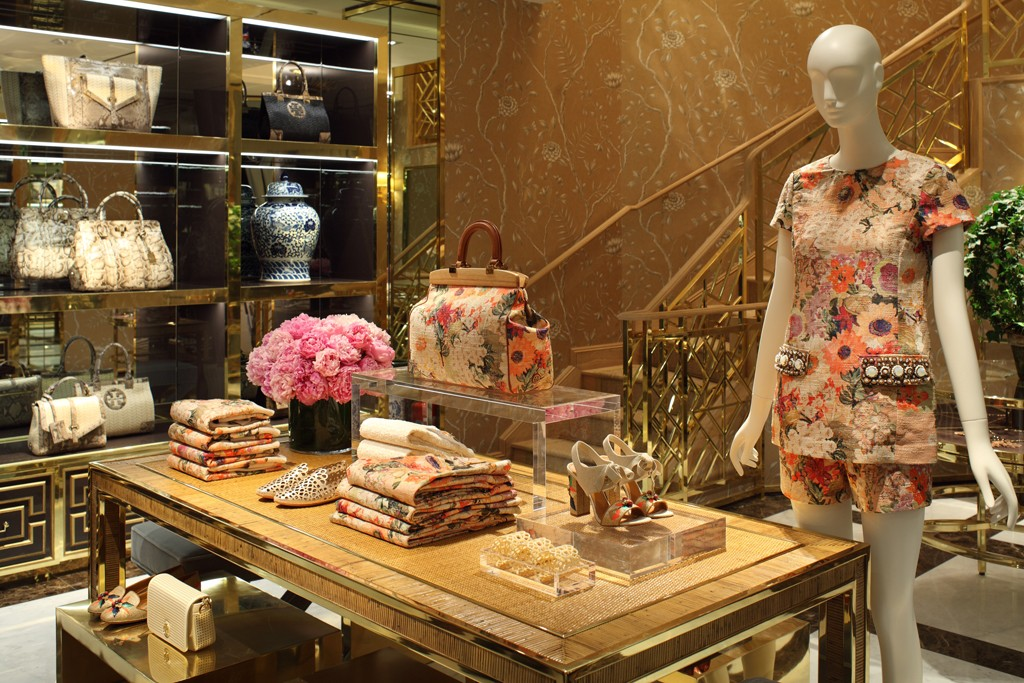 An interior view of the Tory Burch store in Munich.