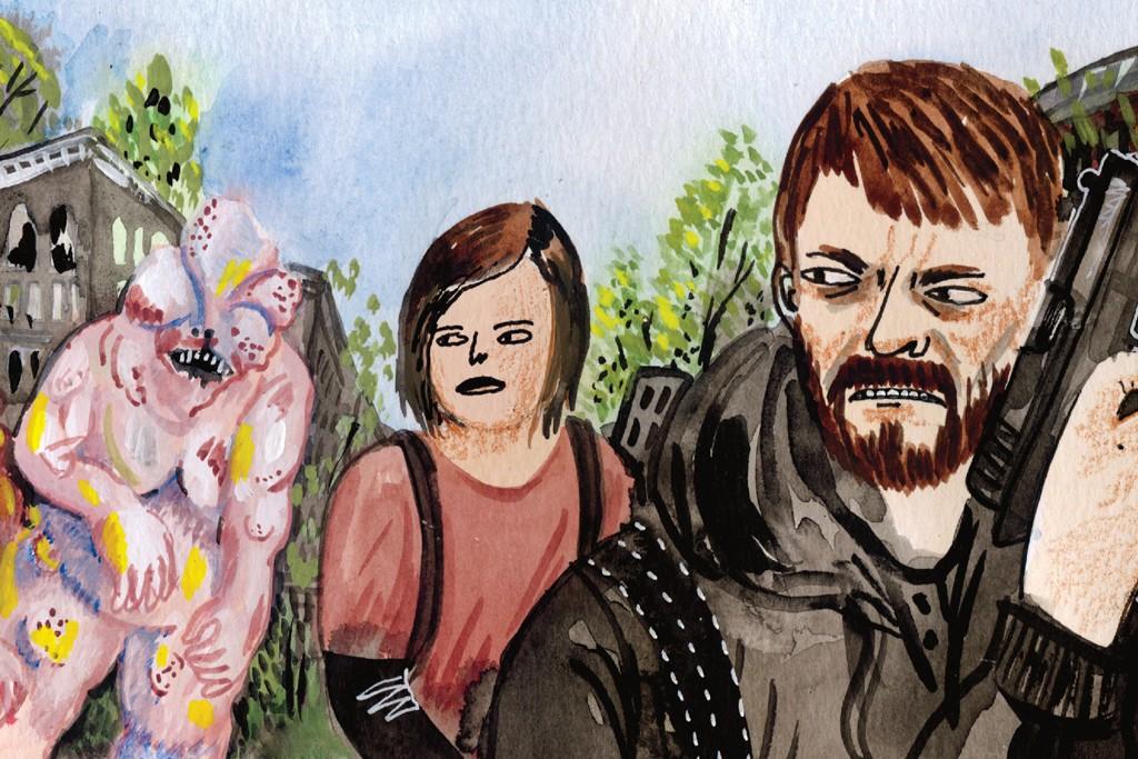 Fleeing zombies in The Last of Us.