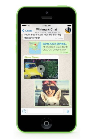 A view of WhatsApp on an iPhone.