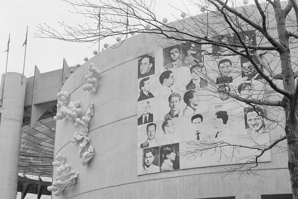 Andy Warhol's mural of 12 Most Wanted Men, for the 1964 World's Fair.