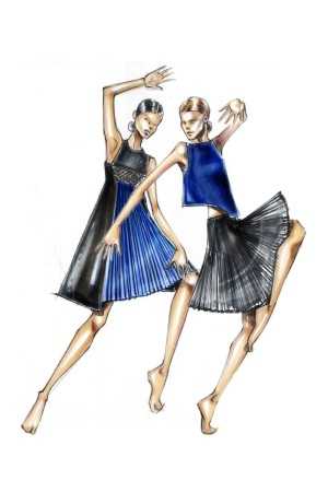 "A sketch of Angel Sanchez's creation for the Ballet Hispanico's annual Junior Society benefit, ""Dance Into Fashion."""