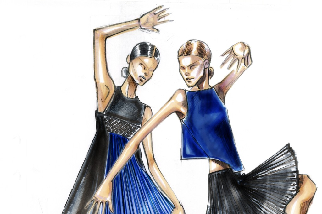 """A sketch of Angel Sanchez's creation for the Ballet Hispanico's annual Junior Society benefit, """"Dance Into Fashion."""""""