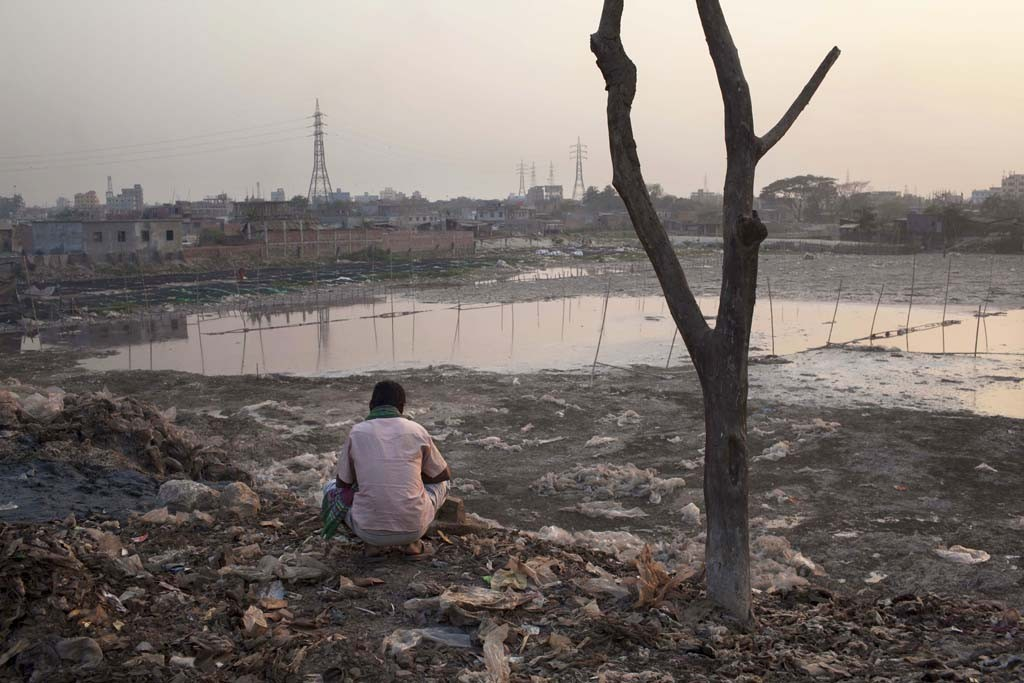 The Buriganga River has been polluted from the leather goods industry's daily release of toxic waste.
