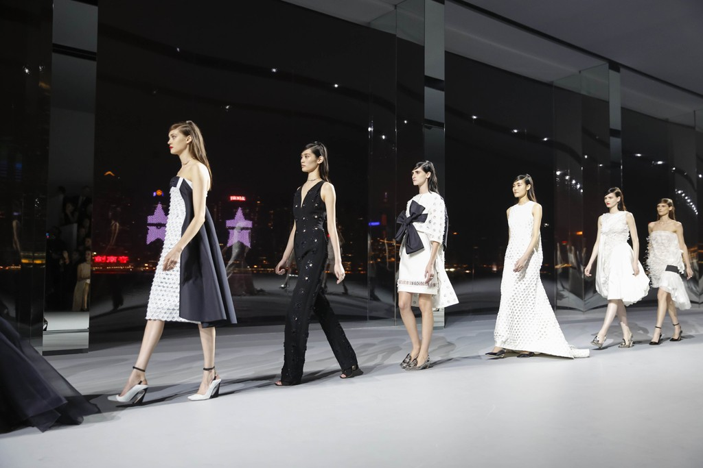 Models at the Christian Dior haute couture show in Hong Kong.