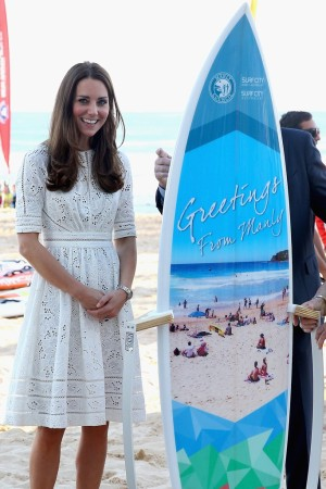 The Duchess of Cambridge attending a lifesaving event on Manley Beach in Sydney.