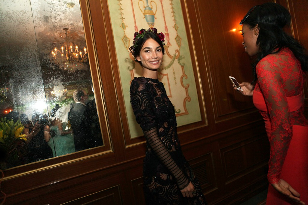 Lily Aldridge in Marc Jacobs and Stone Fox Bride.