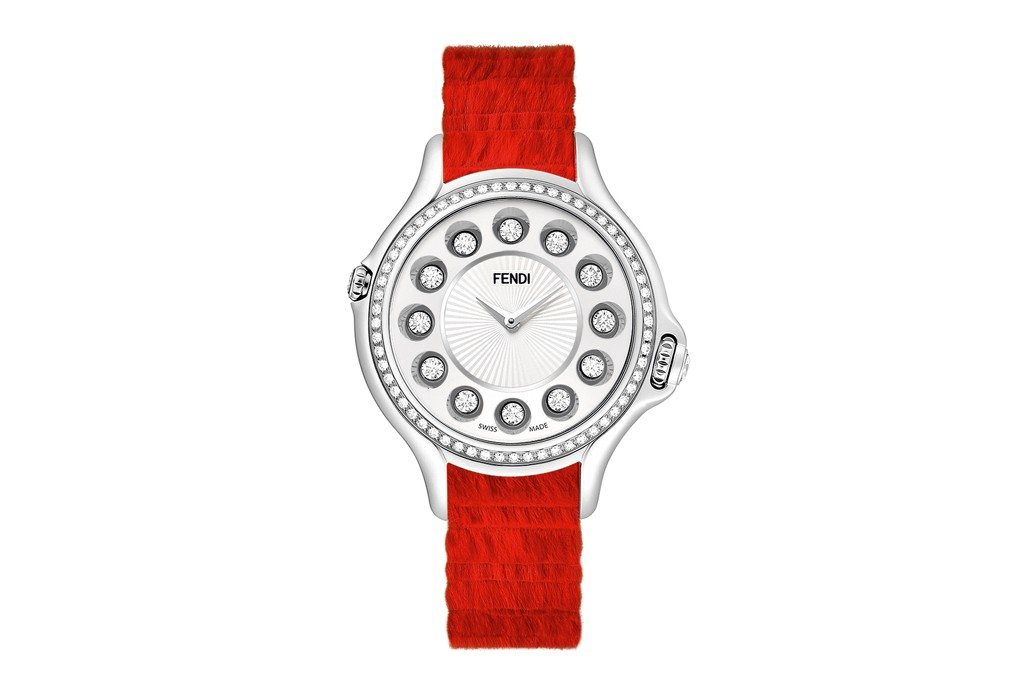 Fendi's Crazy Carats watch with a mink strap.