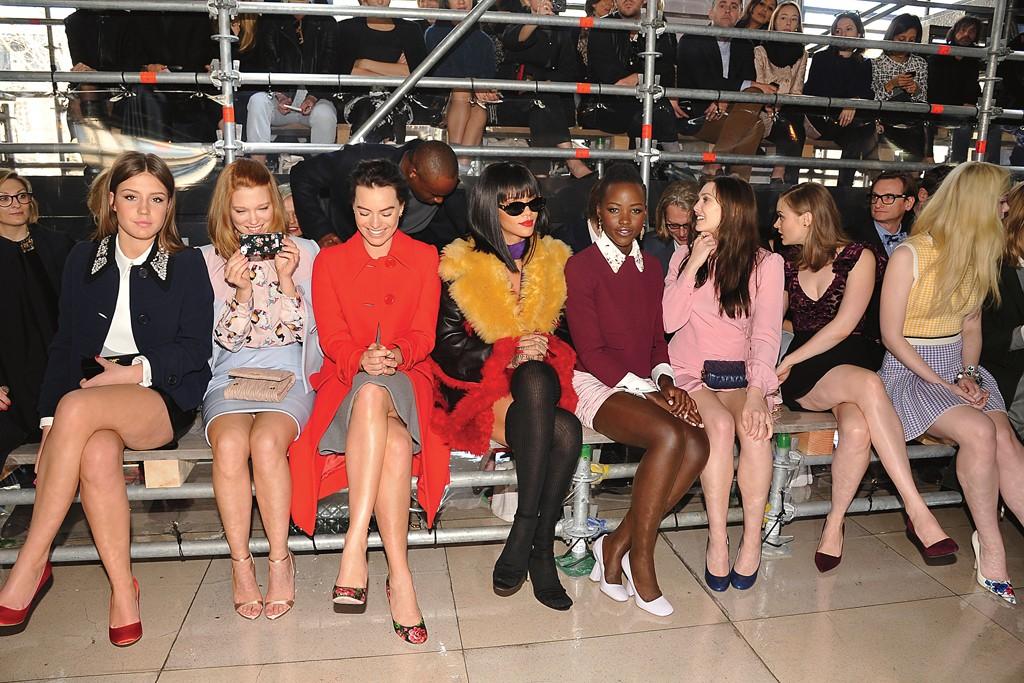At Miu Miu with Adèle Exarchopoulos, Léa Seydoux, Margot Robbie, Lupita Nyong'o, Elizabeth Olsen and Bella Heathcote.