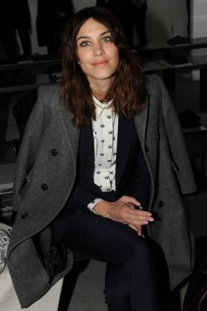 Alexa Chung front row at Calvin Klein's fall show.