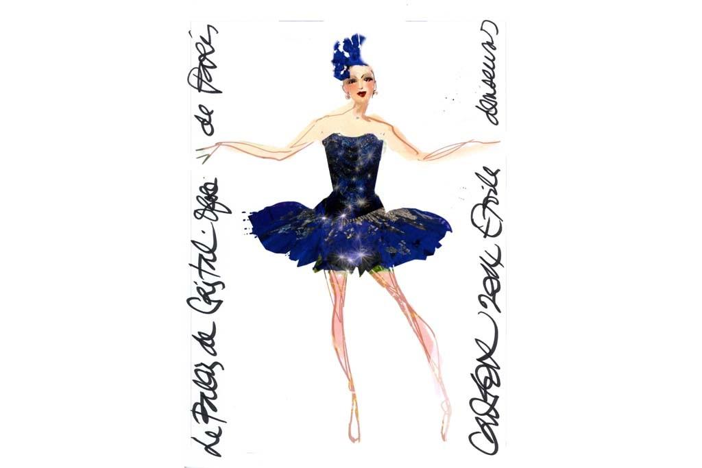 """A Christian Lacroix sketch for costumes for """"Le Palais de Cristal"""" ballet at the Paris National Opera."""
