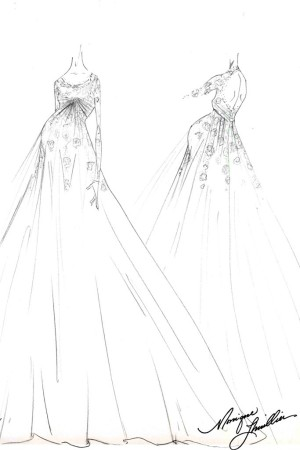 A sketch of the custom Monique Lhuillier gown worn by Ginnifer Goodwin.