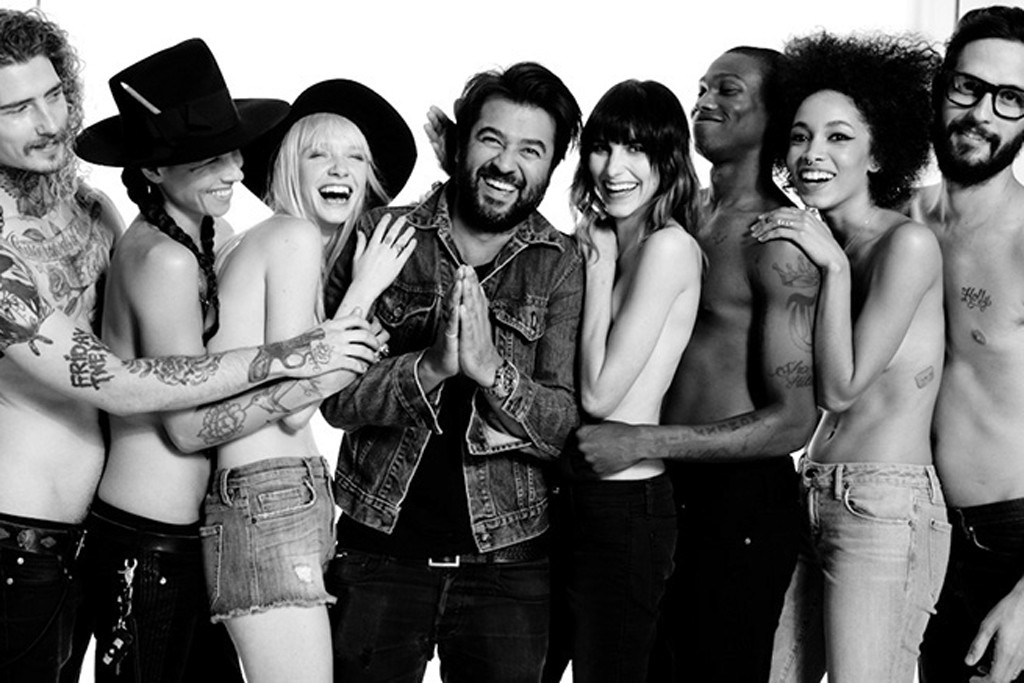 Genetic Denim founder Ali Fatourechi flanked by members of L.A.'s creative community wearing his spring line.