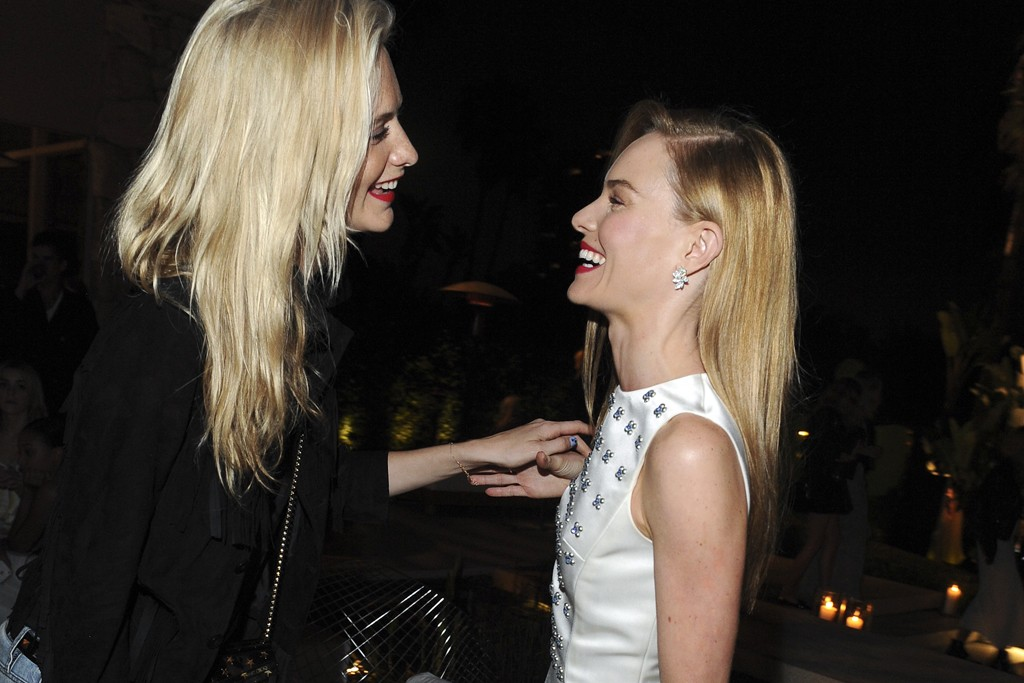 Poppy Delevingne in Superdry and Lisa Marie Fernandez with Kate Bosworth in Dior.