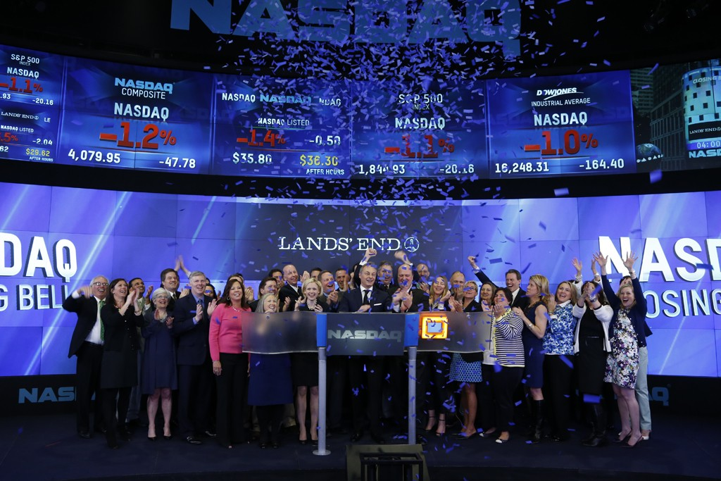 The Lands' End team rang the closing bell Monday.