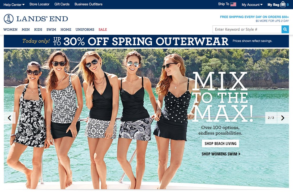 The Lands' End homepage.