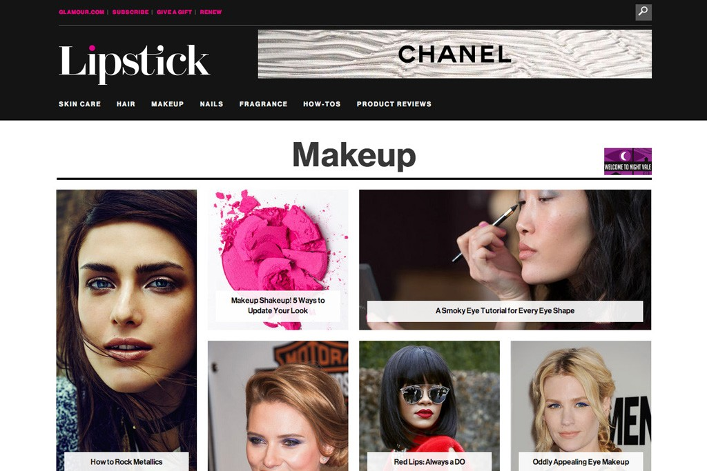 Glamour's new beauty site, Lipstick.