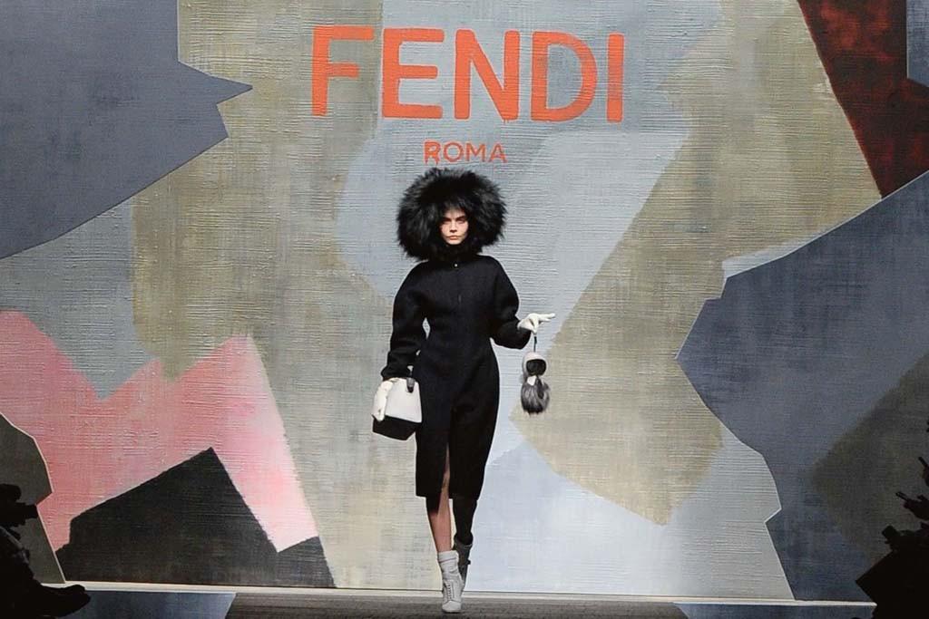 Flying High: A drone follows Cara Delevingne at Fendi.