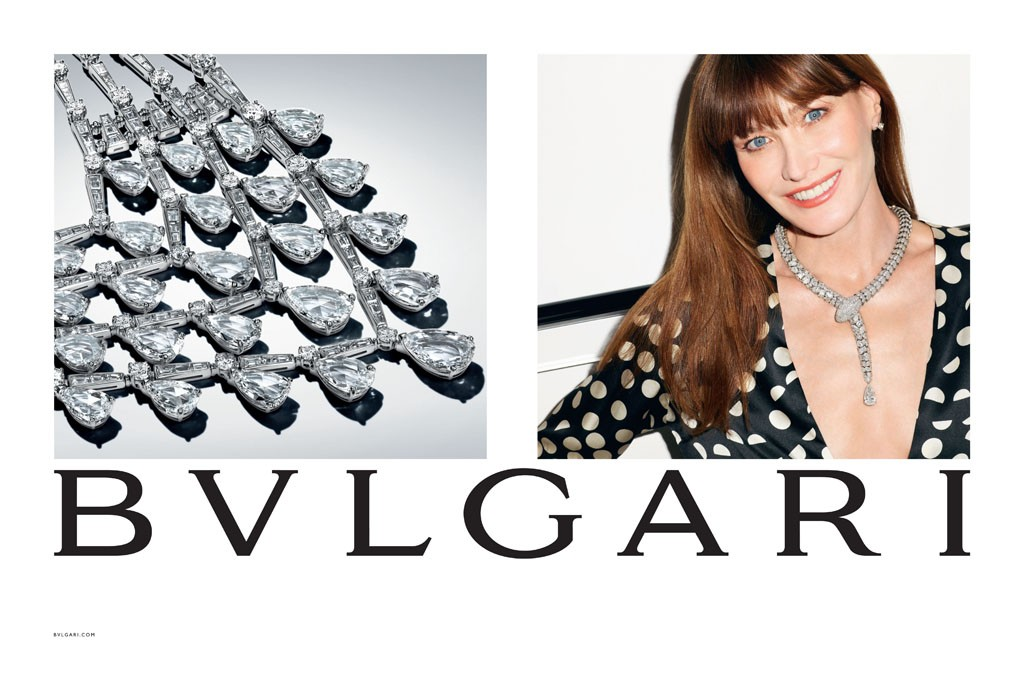 An ad from Bulgari's fall campaign, featuring Carla Bruni-Sarkozy, photographed by Terry Richardson.