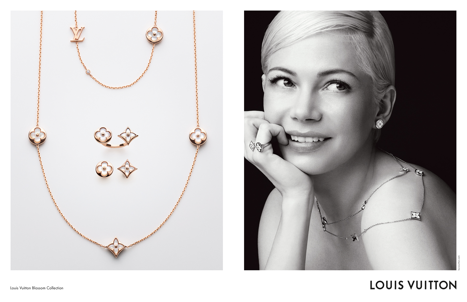 Michelle Williams debuts in Louis Vuitton's new Color Blossom BB jewelry collection ads.