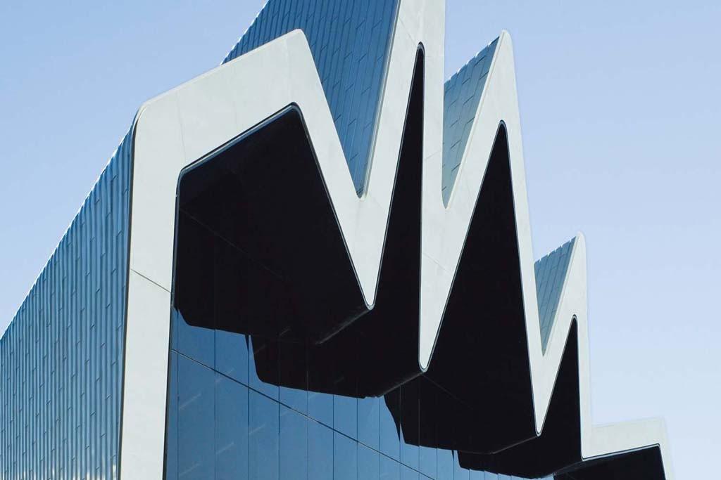 The exterior of Zaha Hadid's Clydeside.