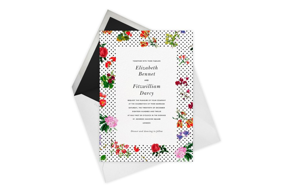 A wedding invitation from Oscar de la Renta's latest Paperless Post collection.