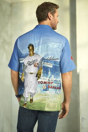 "Tommy Bahama's 2014 MLB Jackie Robinson ""Collector's Edition"" shirt."