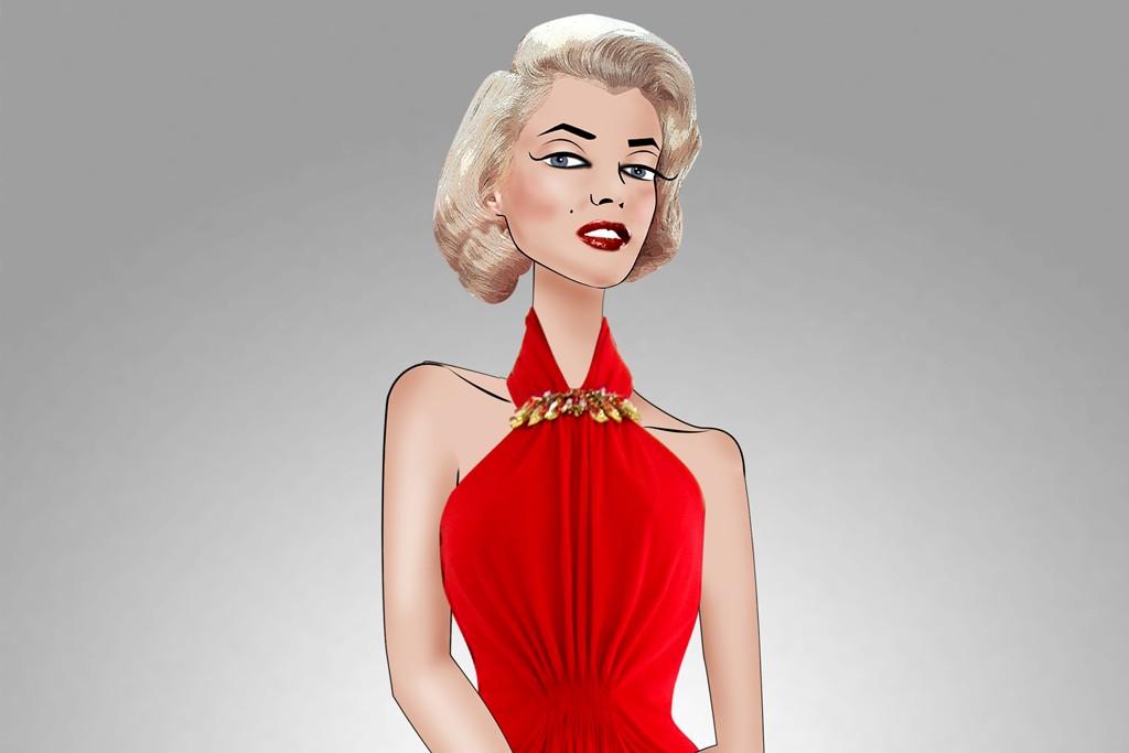 A sketch of Alexander McQueen's design for amfAR's Cinema Against AIDS Cannes fashion show.