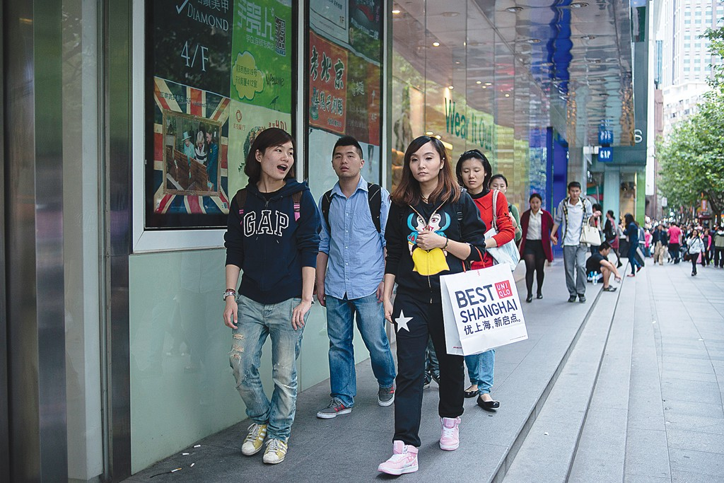 Jeans shoppers in Shanghai have a variety of options.