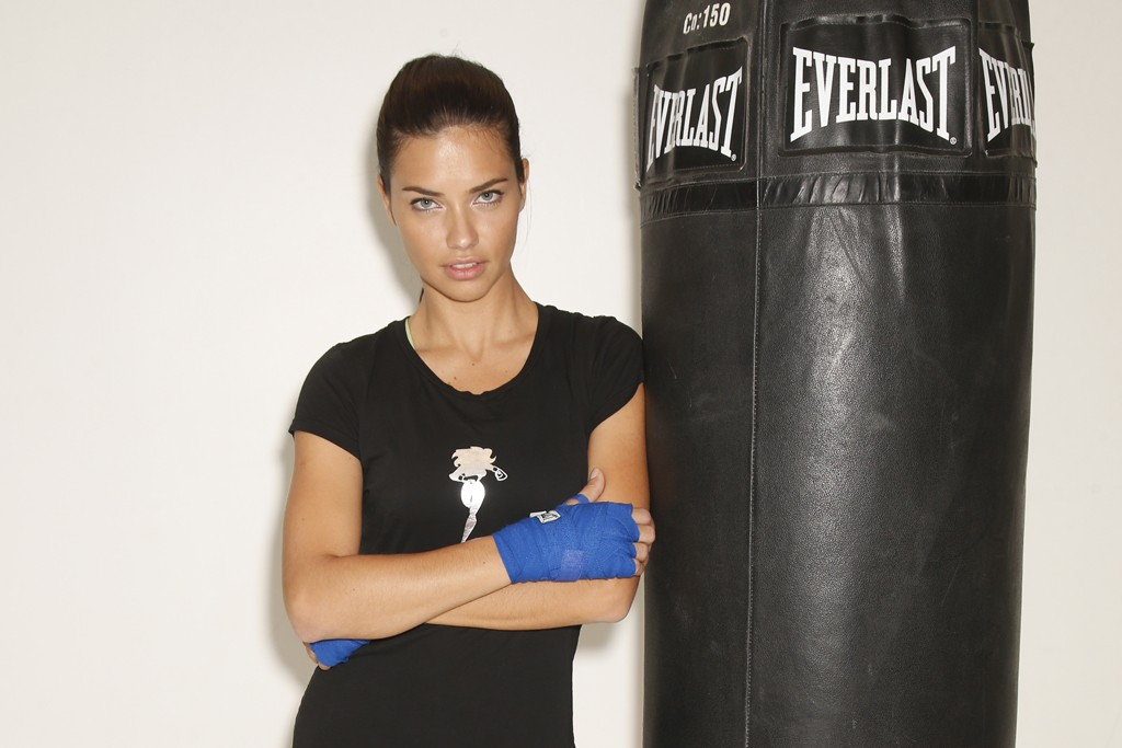 Adriana Lima at Aerospace gym in New York.