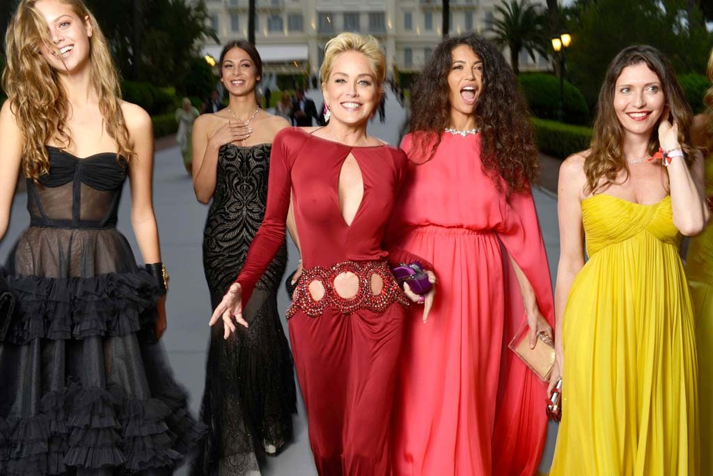 Sharon Stone in Roberto Cavalli and friends arriving at the amfAR gala.