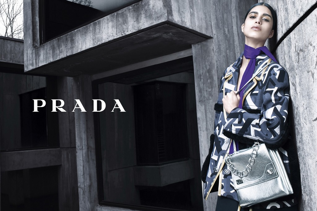 Mica Arganaraz in Prada's fall ad campaign, photographed by Steven Meisel.