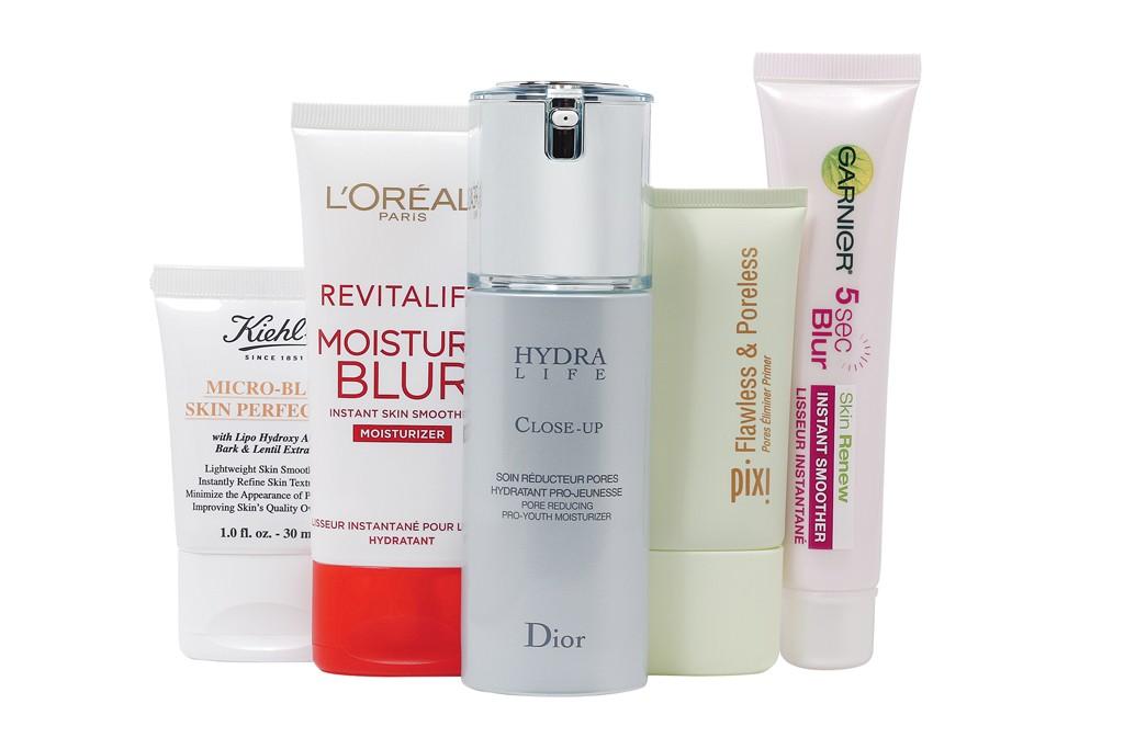 From left to right: Kiehl's Micro-Blur Skin Perfector, L'Oréal Paris Revitalift Moisture Blur, Dior Hydra Life Close-Up, Pixi Flawless & Poreless, Garnier 5 Sec Blur Skin Renew Instant Smoother