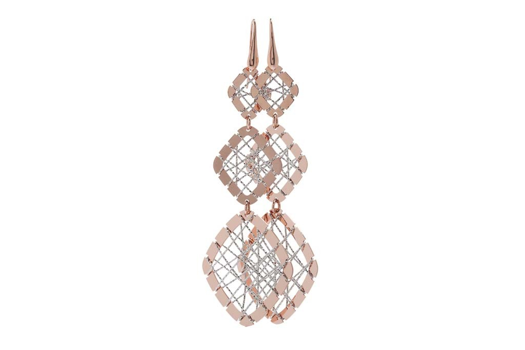 Stroili Italian Jewels' 23-karat rose gold-plated bronze earrings with diamond-cut rhodium-plated bronze wire.