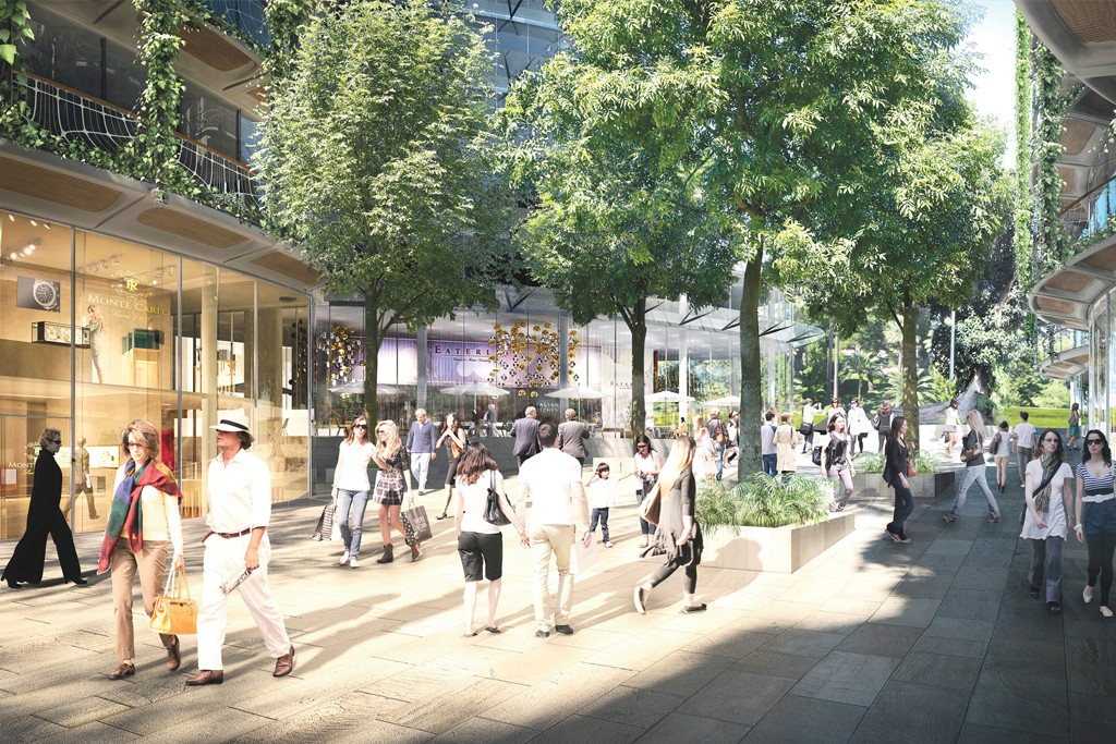 A rendering of the pedestrian zone within the future Sporting d'Hiver complex in Monaco.