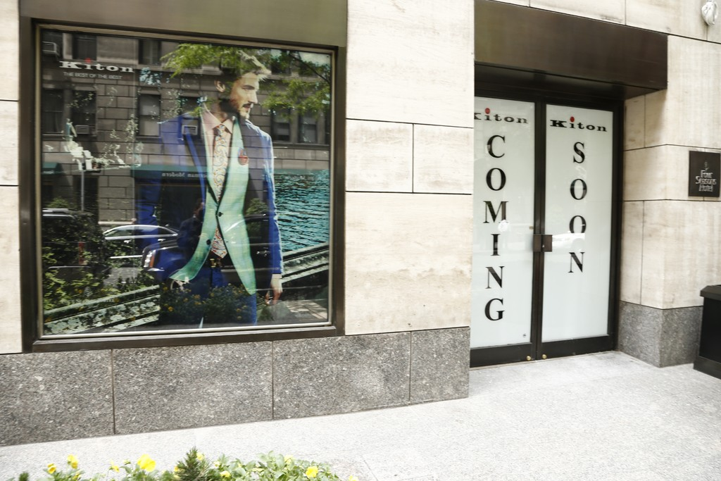 Outside the Kiton store located in the Four Seasons hotel.