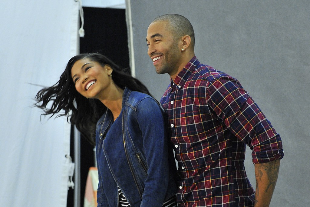 Matt Kemp behind the scenes of the ad shoot for Gap's outlet stores with model Chanel Iman.