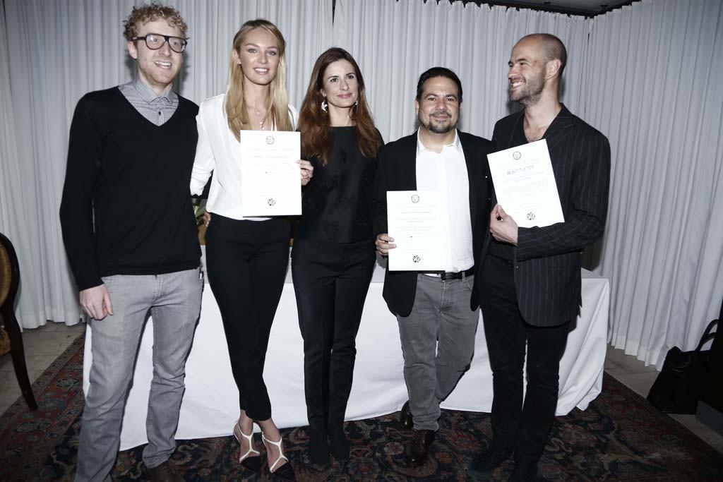 Oliver Wayman, Candice Swanepoel, Narcisco Rodriguez, Livia Firth and Cameron Saul.