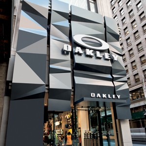 Tectonic steel plates on the exterior of Oakley's flagship.