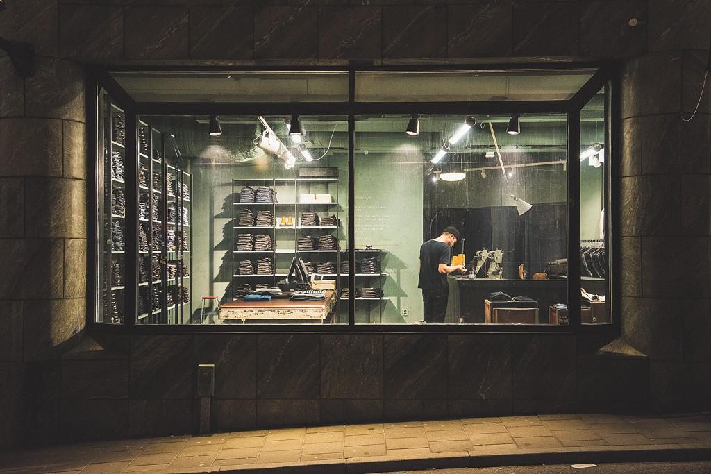 Nudie Jeans Co.'s newest repair shop in Stockholm.