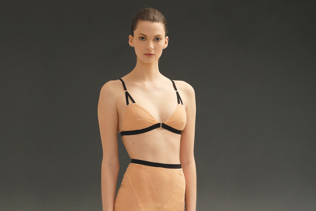 Noe's elastane and polyamide net bra and half-slip.