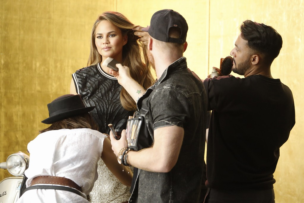 Chrissy Teigen behind the scenes of the XOXO ad shoot.